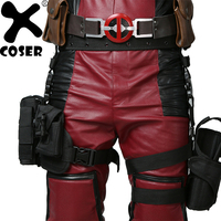 XCOSER Deadpool Wade Wilson Cosplay Costume Prop Leg Bag Black Holster Pockets For Deadpool Replica Suit By Professional Cosplay