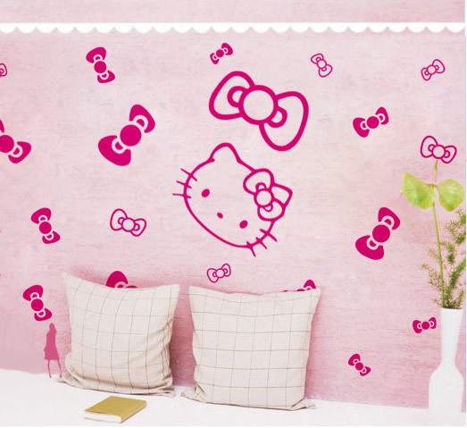 ... Free Shipping Small Size Hello Kitty Wall Paper Childrenu0027s Room Wall  Sticker Bedroom Background Wall Decorate ... Part 57