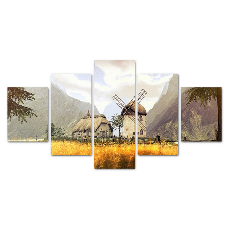 Modular Pictures For Living Room Home Decor 5 Panels Field Windmills Mountains View Abstract Unframed Canvas Painting