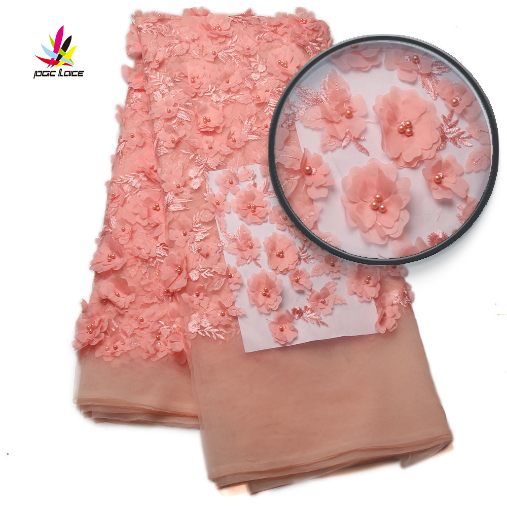 Peach Nigerian Lace Fabrics 3d Lace High Quality African French Net Lace Fabric Embroidery Flower For