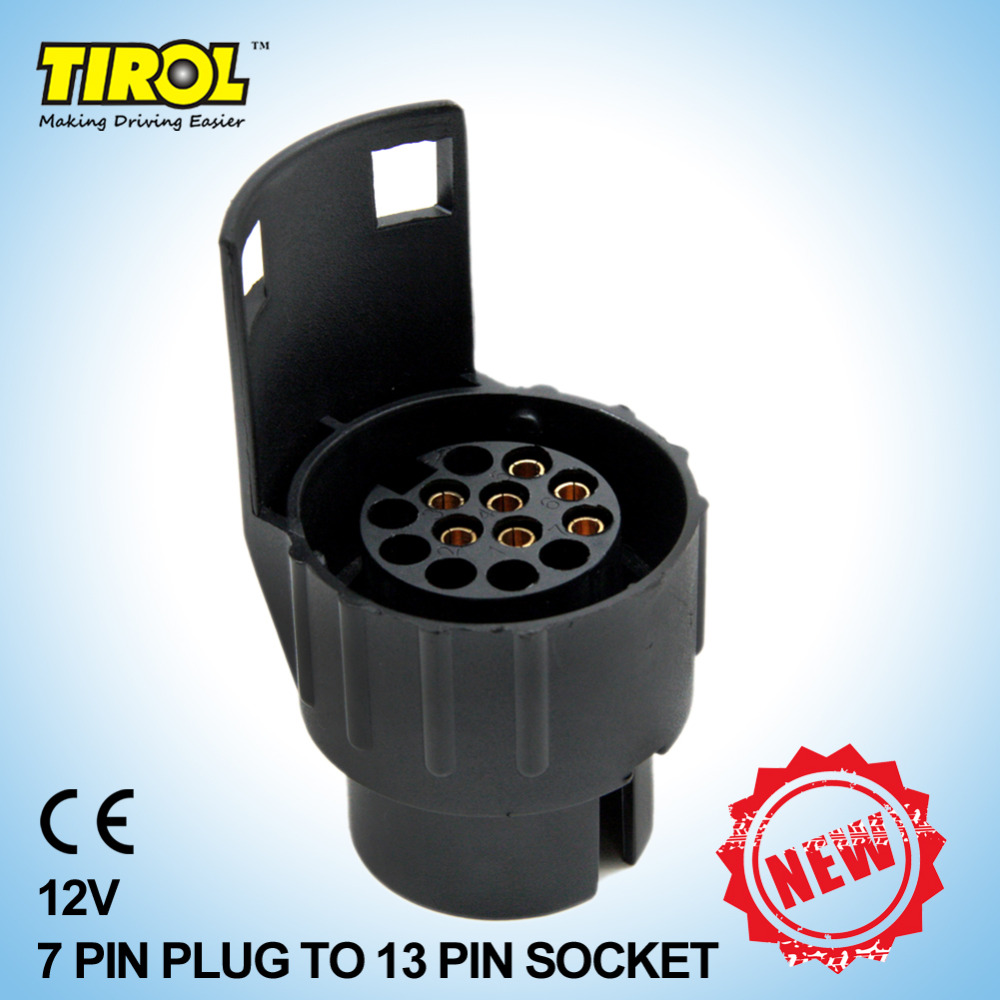Tirol 7 Way Pin Rv Blade To 5 Flat Trailer Wiring Adapter For Socket 13 Plug Black Frosted Materials Connector 12v Towing