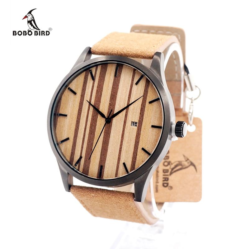 2017 BOBO BIRD Quartz Watch Wooden Dial Watches Men Corium Leather Strap army Wristwatch Clock Complete