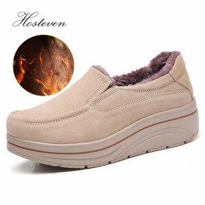 Image 2 - Hosteven Women Shoes Flat Sneaker Moccasins Loafers Oxfords Boat Genuine Leather Plush Fur Spring Autumn Female Ladies Shoe