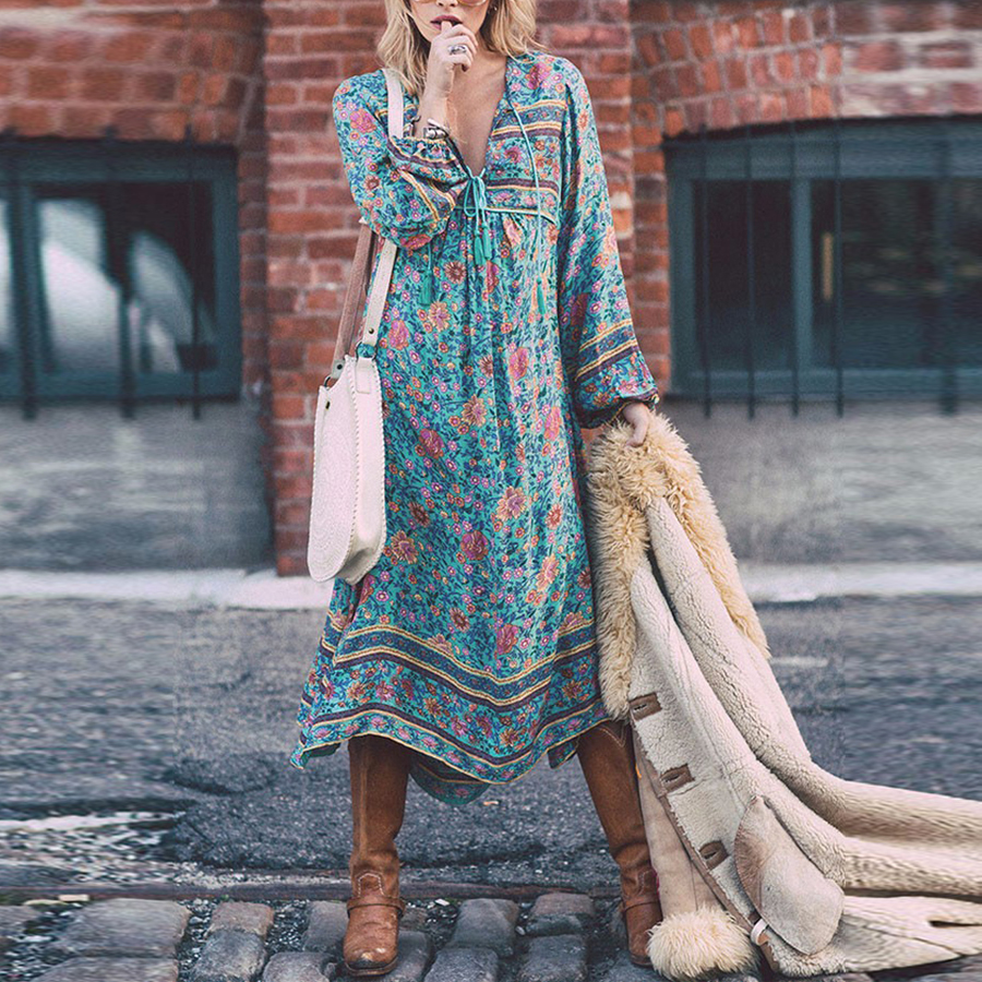 BOHO INSPIRED autumn cotton long sleeve women dresses loose