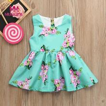 Baby Girls dress Infant Kids Floral O-Neck Sleeveless Print Sundress Clothes Princess Casual newest style hot sale Blue Dress