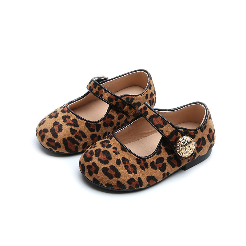 Children Fashion Spring Autumn Kids Casual Low Heeled Cute Princess Leipard Floc Retro Sneaker Single Loafer Girls Leather Shoes