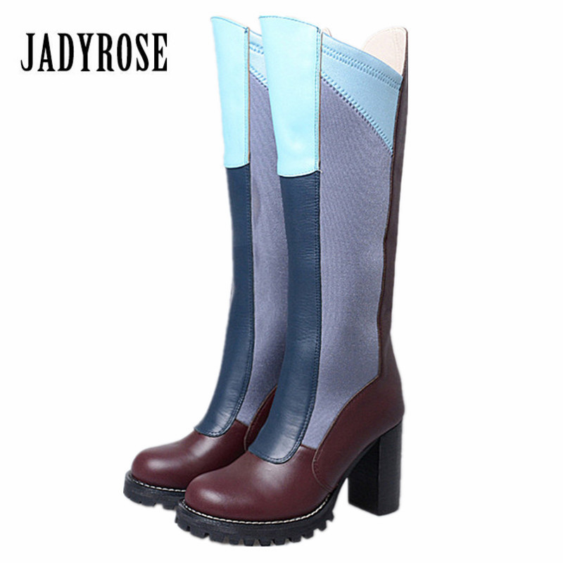 Jady Rose Mixed Color Women Knee High Boots Stretch Fabric Genuine Leather Boot Platform High Heel Botas Autumn Long Botas jady rose vintage brown women genuine leather mid calf boot chunky high heel platform boots straps buckle decor martin botas