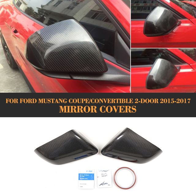 Carbon fiber auto seite hinten spiegel fender abdeckung für Ford Mustang 2015 2016 2017 Hinzufügen auf stil