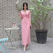 Plus Size Women Half Sleeve Deep V-neck Solid Casual Long Dress Corset Split Sexy Party Elegant Pink