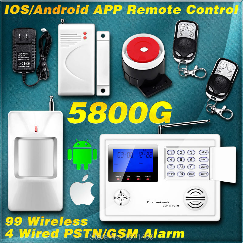KERUI IOS/Android APP Remote Control 99 Wireless 4 Wired Zone GSM ...