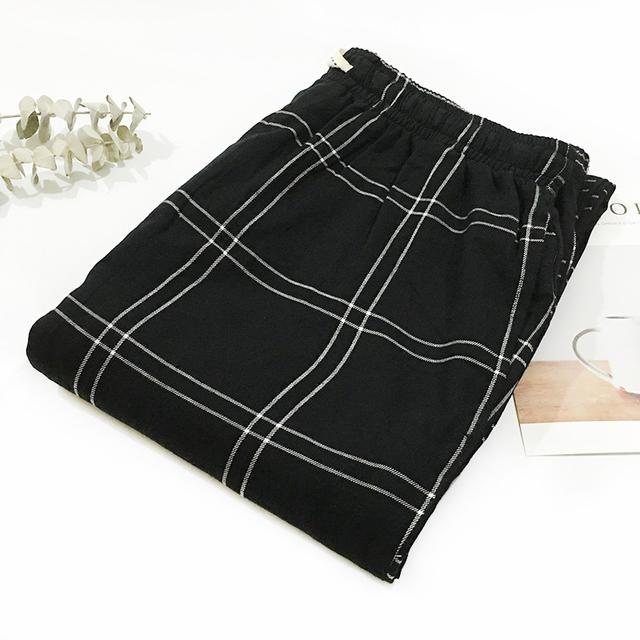 Summer 100% cotton casual plaid sleep bottoms men simple pijamas indoor trousers sheer men sleep pants Plus size XXL 100KG