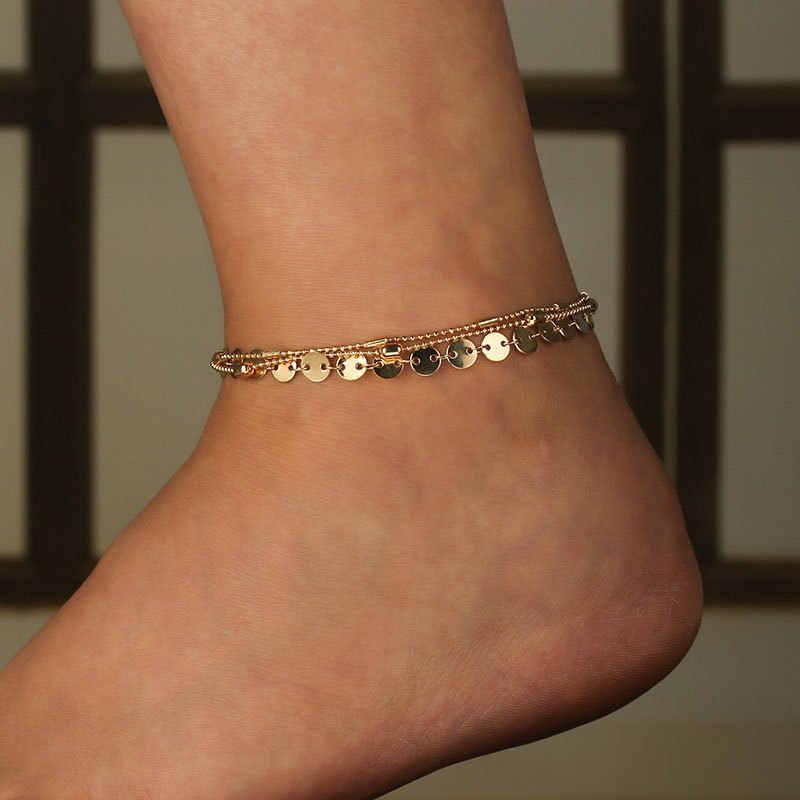ฤดูร้อนชายหาด Turtle Charm เชือก String Anklets สำหรับผู้หญิงข้อเท้าสร้อยข้อมือผู้หญิงรองเท้าแตะบนขาเท้าเครื่องประดับ