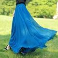 Female Summer Elastic Waist Vintage Long Skirts Women Cool fabrics Chiffon Pleated Maxi Skirt Large Plus Size Plissada Midi Saia