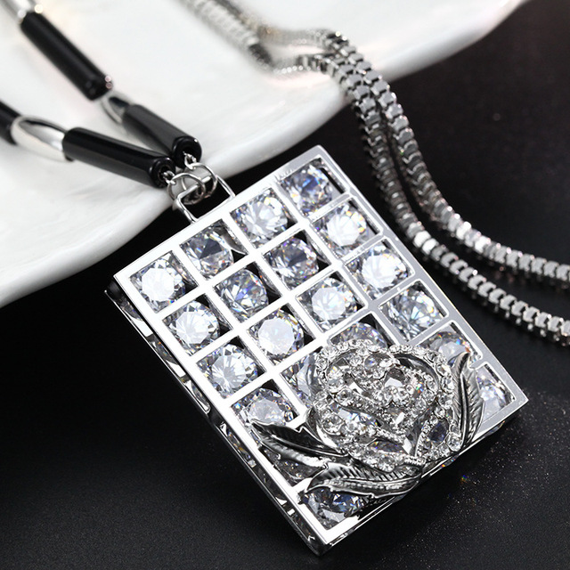 DuoTang Classic Rhinestone Necklace Silver Plated Metal Zinc Alloy Link Chain Pendant Necklace For Women Jewelry Accessories