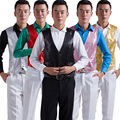 Bling male vest red blue powder for silver white yellow vest for singer compere toastmaster stars show party formal