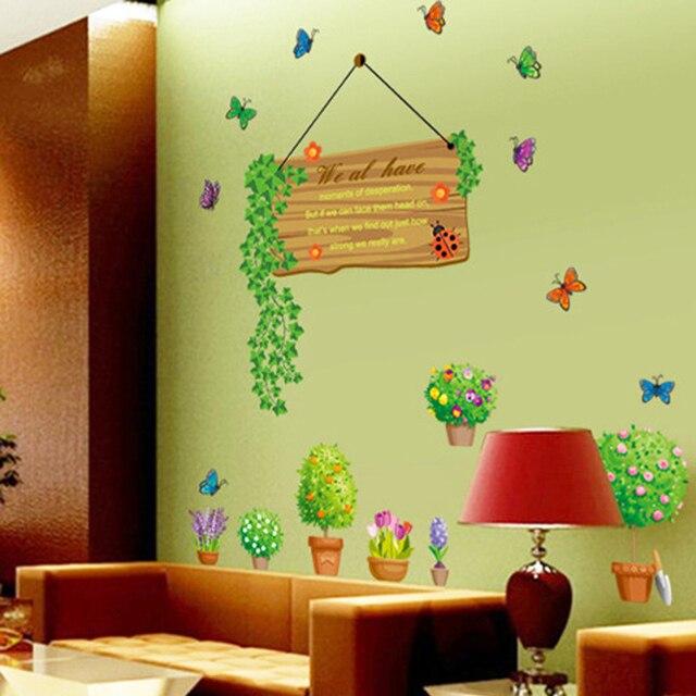 Green Leaves Flowerpot Butterflies Wall Decal Home Sticker Paper Art ...