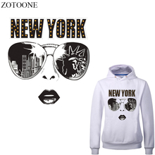 ZOTOONE Iron on NEW YORK Patches for Clothing DIY T-shirt Appliques Washable Girl Patch Stickers Stripes Clothes Heat Press