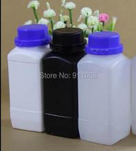 1000 ml 3 pces! Garrafas líquidas plásticas médicas grandes do hdpe do valume com tampões burglarproof para o reagente químico-material do hdpe