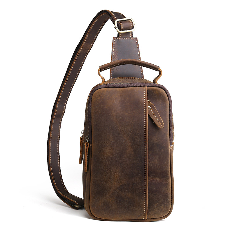 Brand Genuine Crazy Horse Small Casual Sling Bag Men's Chest Pack Male Cowhide Cross Body Shoulder Messenger Bag For Cell Phone brand genuine leather casual chest pack sling bag men s cross body shoulder bags male cowhide messenger bag for ipad mini wallet