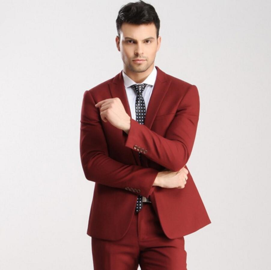 Homme Maximale Mariage veste D'honneur Rouge Bal Hommes Smokings Garçons Meilleur Costume Mesure Revers Marié Pantalon Sur Costumes De Bouton qxEaoFz