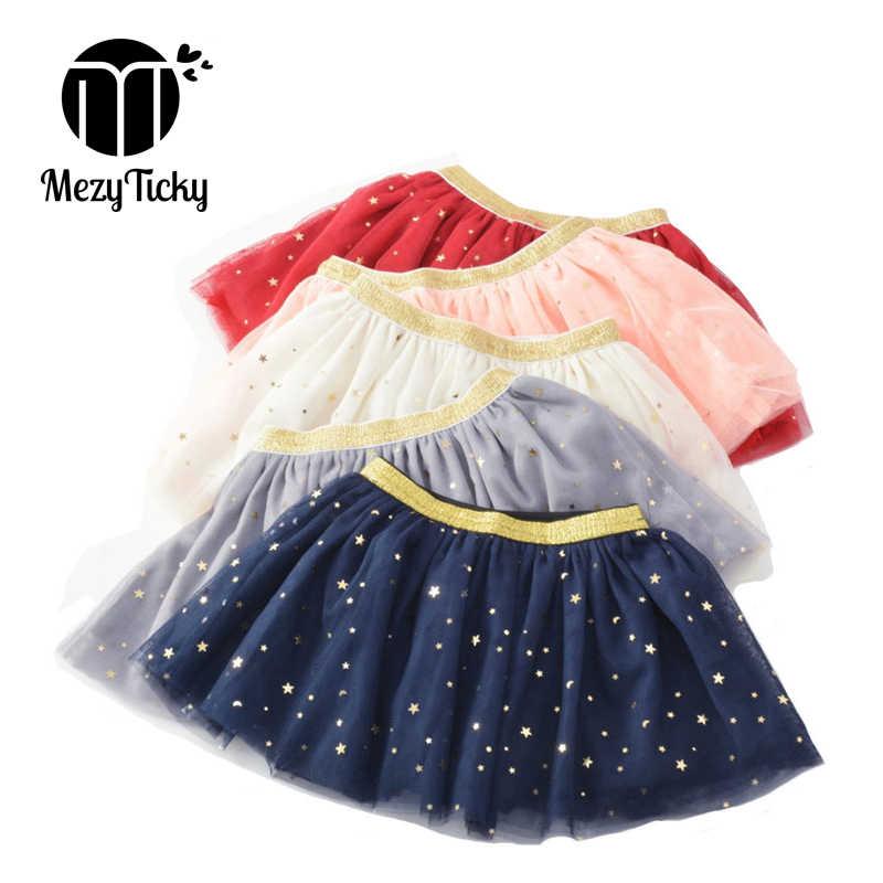 MezyTicky verano otoño niñas pettiskirt flash star Falda plisada para niños bebé falda de encaje mullido princesa falda de fiesta de cumpleaños