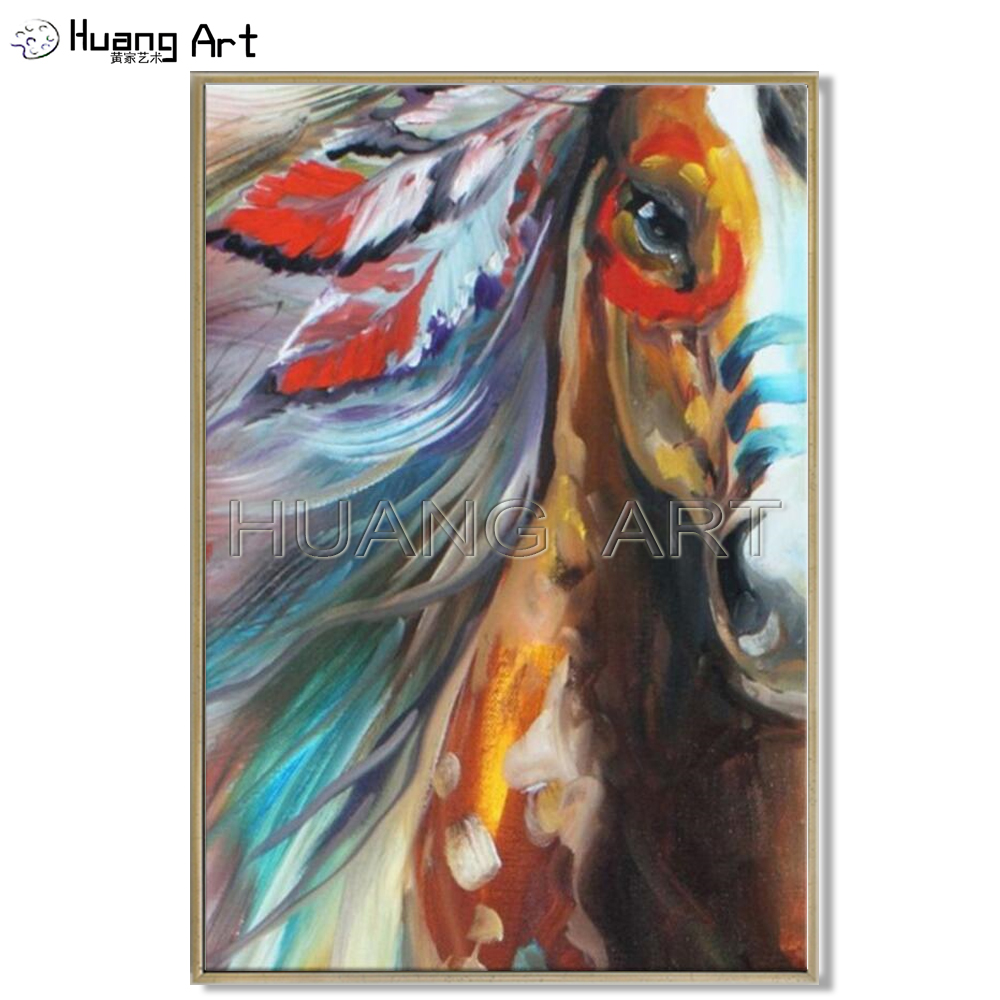High Quality Horse Oil Painting Pop Impression Horse Oil Painting On Canvas for Decor Handmade Animal Indian Horse Painting