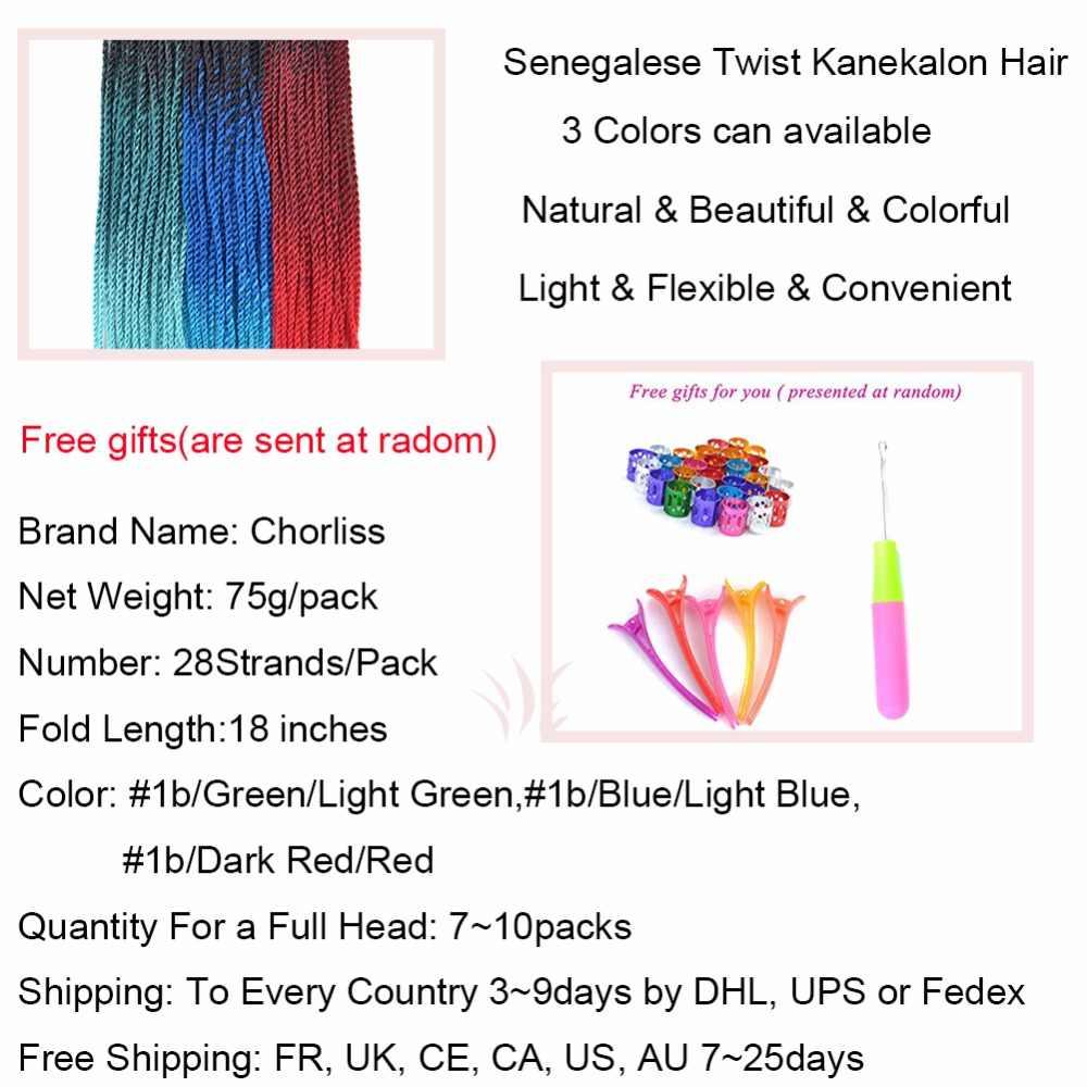 """Chorliss 18 """"Сенегальские накрученные волосы косички волосы Омбре Оплетение волос синтетические волосы для наращивания черные светлые голубые вязанные косички 6 шт"""