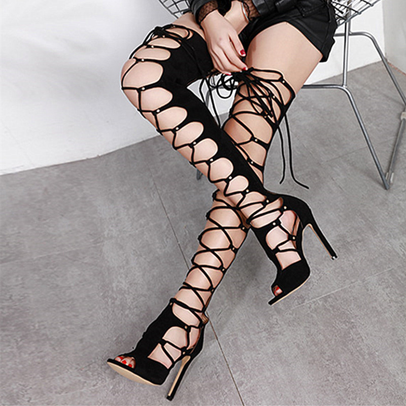 Sexy high quality Thigh High Sandals Boots Women High Heels Peep Toe Shoes Woman Cross-strap Over The Knee Boots summer boots hot boots women sexy black thigh high boots peep toe soft leather back zip high heels over the knee boots gladiator sandal boots