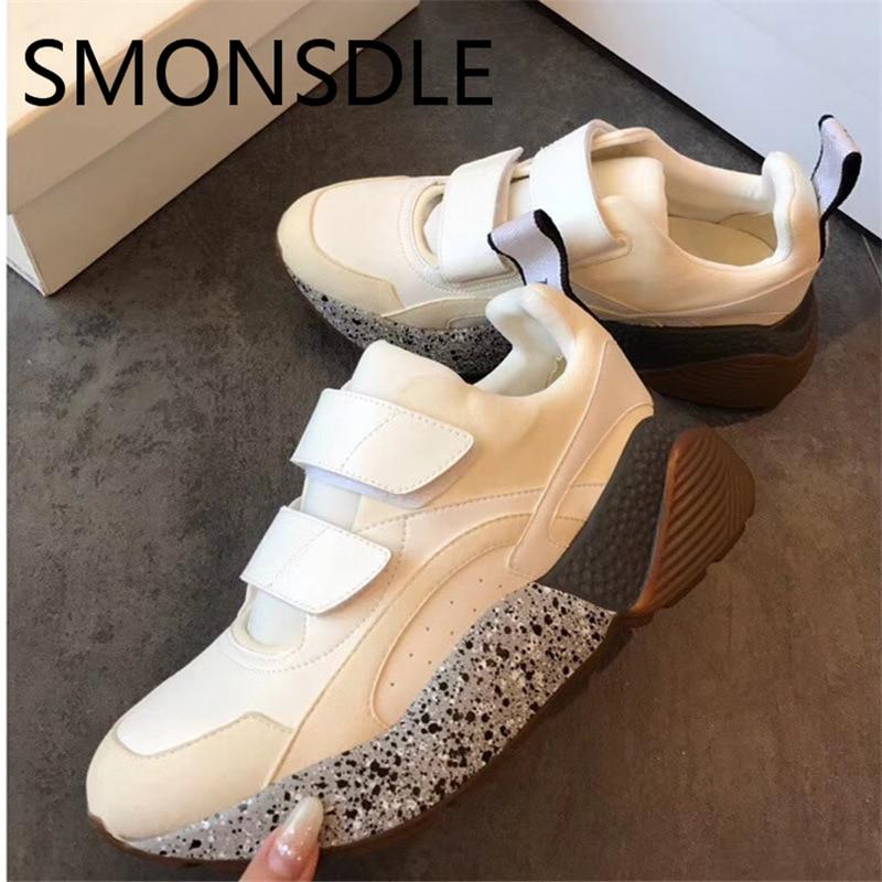 SMONSDLE Новый Демисезонный Повседневное Для женщин без каблука обувь Hook & Loop мелкой рот Коренастый резиновая подошва Для женщин кроссовки обув