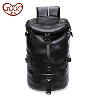 New Korean version of the full waterproof men's backpack trend high quality PU leather bag leisure travel large capac