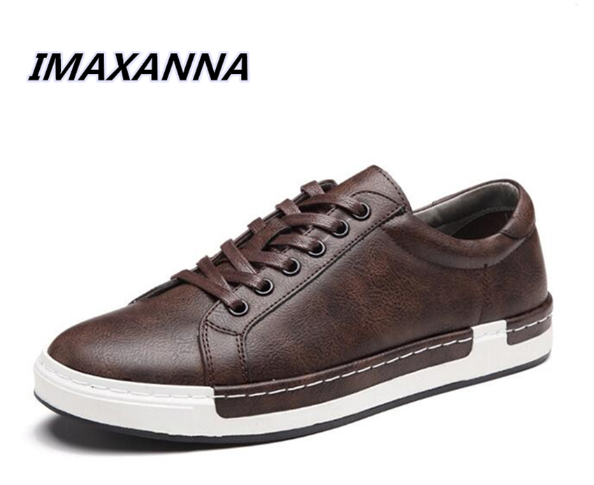 купить IMAXANNA New Casual Shoes Mens Leather Flats luxury brand Lace-Up Shoes Male Shoes Large Sizes Oxford Shoes For Men size 38-46 по цене 2175.92 рублей
