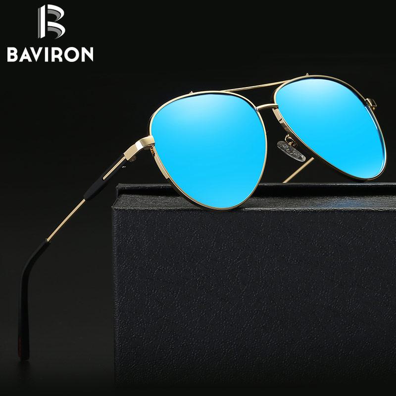 BAVIRON 2017 Men Sunglasses Driving Polarized Lens Glasses Mirror Round Metal Frame Travel  Perfect UV400 Eyewear Oculos 27036 uv400 polarized mirror orange lens wood frame sunglasses