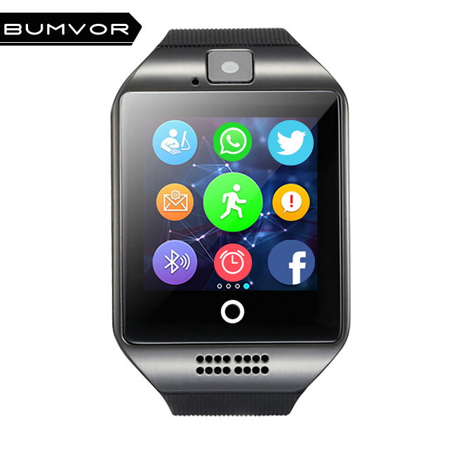 BUMVOR Q18 Passometer Smart watch with Touch Screen camera TF card Bluetooth smartwatch for Android IOS Phone
