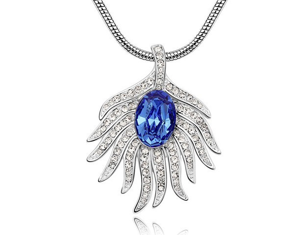 Austria blue crystal peacock feather pendant necklace unique austria blue crystal peacock feather pendant necklace unique design jewellery women jewelry nxl0054 mozeypictures Image collections
