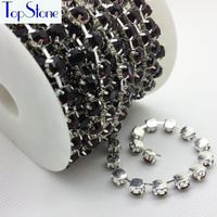 Amethyst Color 28ss 38ss 45ss High Quality Crystal Rhinestone Round Cup Chain Silver Base 8mm Glass