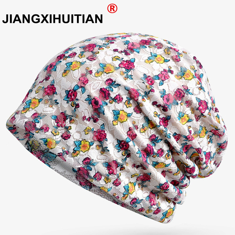 2018 New Female Lace   Skullies     Beanies   Women Spring Summer Thin Small Floral Turban Hats Pregnant Mother Cap free shippng