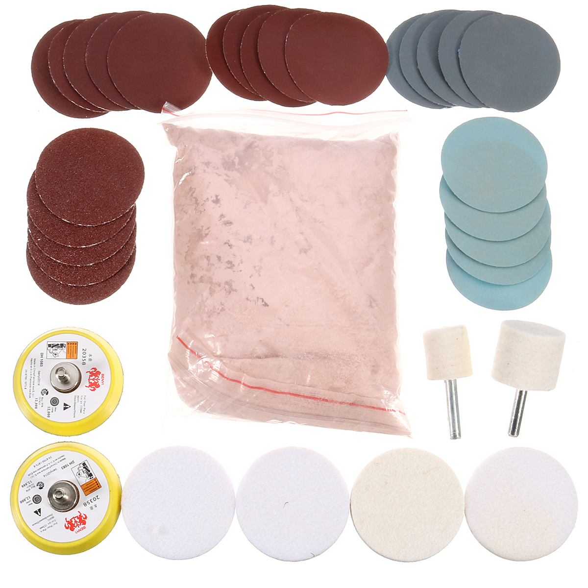 34Pcs Deep Scratch Remove Glass Polishing Kit 8Oz Cerium Oxide Sanding Disc Wool Polishing Pads Felt Polishing Wheel DIY Tools-in Polishing Pads from Tools