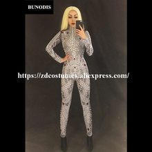 ZD099 2018 Lastest Style Women Jumpsuit Full Of Pearls & Sparkling Rhinestones Bodysuit Nightsulbe Stage Wear Bling Costume(China)
