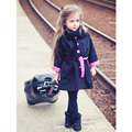 2016 Autumn Winter Fashion Girls Coat Trench Long Sleeve Pink Polka Dot Outwear+Belt 2pcs/Set Children Girls Wind Jacket  3-9Y
