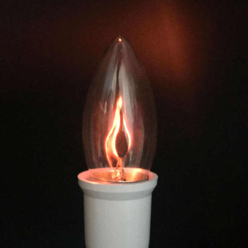 LED Lampu Bohlam Edison E14 E27 3W Api Api Lampu Vintage Berkedip Efek Tungsten Novel Tip Lilin Lampu Oranye Merah