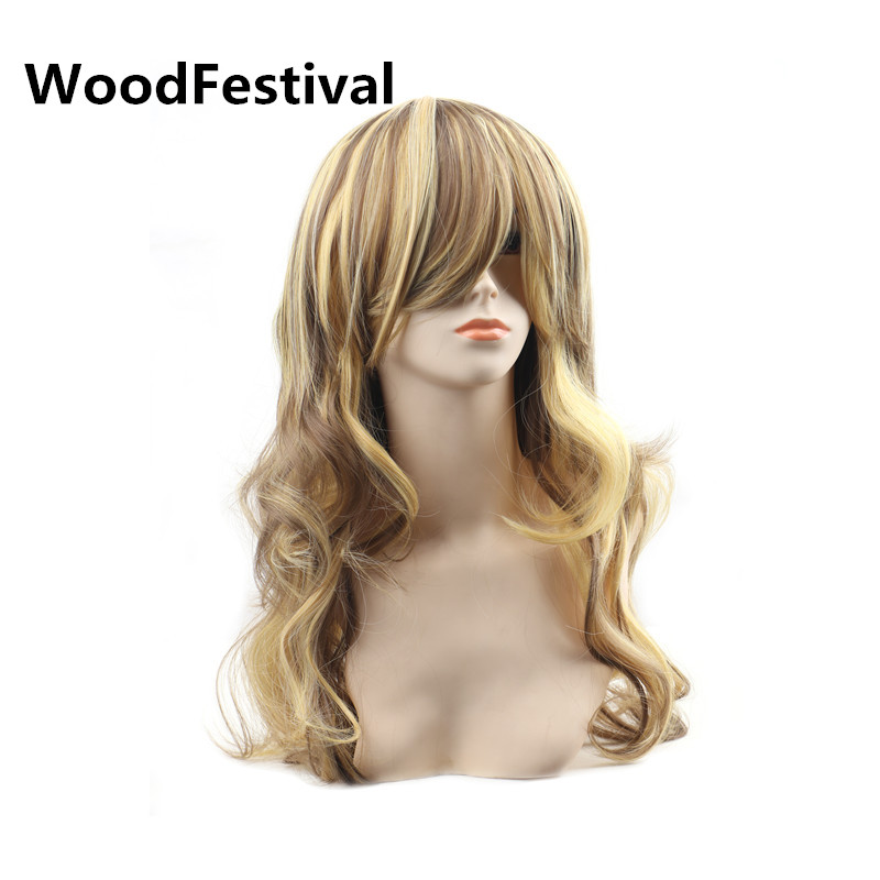 WoodFestival Mix Color Heat Resistant Womens Wigs With Bangs Cosplay Long Wavy Synthetic Wig