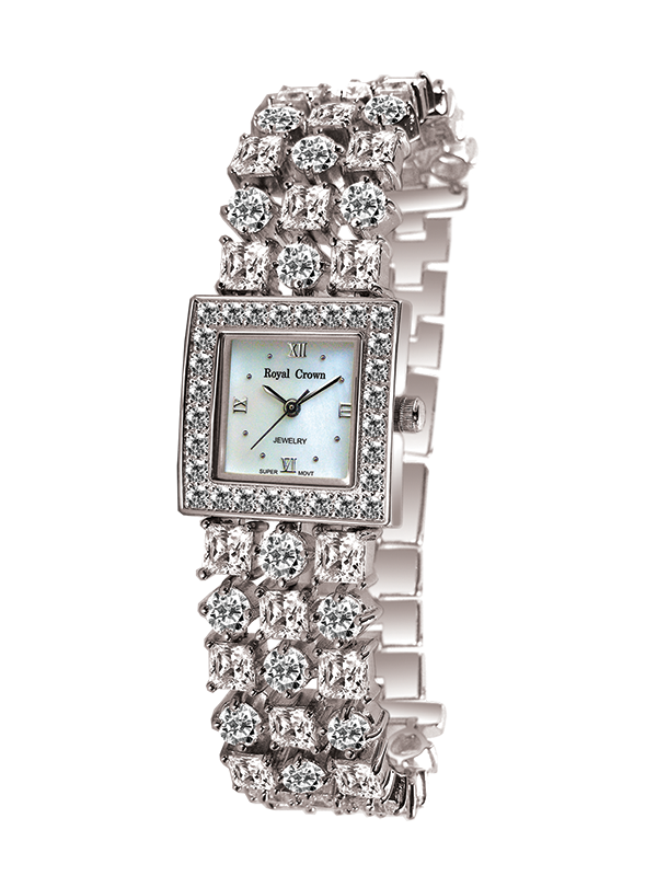Royal Crown Jewelry Watch 2490B Italy brand Diamond Japan MIYOTA platinum Mother-of-pearl Bracelet Rhinestone Crystal Girl's royal crown jewelry watch 3632 italy brand diamond japan miyota platinum dress colorful bracelet brass rhinestone