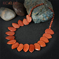 KCALOE Necklaces Natural Big Gold Sand Stone Vintage Accessories Hyperbole Handmade Statement Necklace Women Jewelry Collier