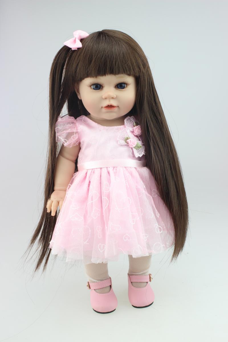 42cm soft silicone vinyl reborn baby dolls girls long hair standing doll toys for children's birthday gift Xmas Clothing model