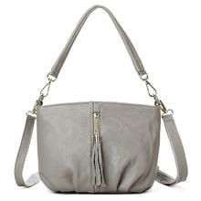 YILIAN fold wrinkled bag Female leisure Head layer cowhide Ms. messenger tassel packet G170