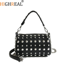 HIGHREAL New Fashion Women Handbags Chain Strap Designer Shoulder Bag Female Rivets Messenger Crossbody Bags Drop shipping