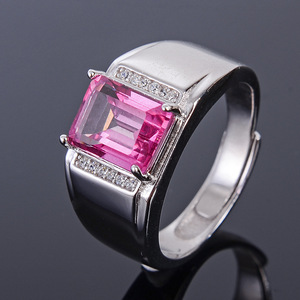 Image 3 - Meibapj 6*8 Real Natural Roze Topaz Edelsteen Mannen Ring Of Lege Ring Ondersteuning Real 925 Sterling Zilver Fijne bruiloft Sieraden
