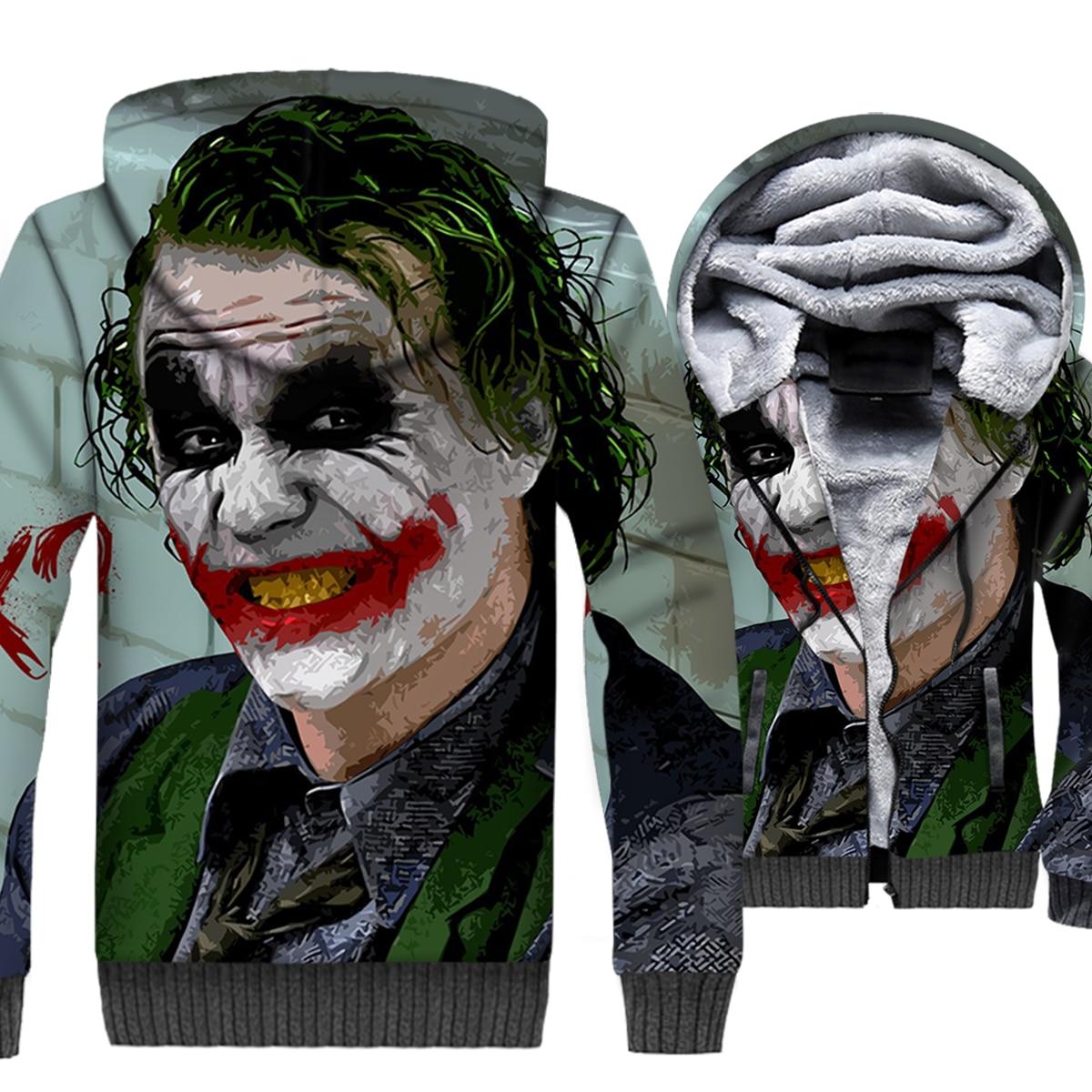 Batman Villains Joker 3D Hoodie Men Hip Hop Hooded Sweatshirt Who Laughs Coat Winter Thick Fleece Warm Jacket Swag Streetwear