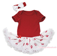 Plain Red Bodysuit Girls White Lip Baby Dress Romper Jumpsuit Outfit Set NB 18M MAJSA0666