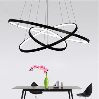 D100cm Black/White Modern pendant lights for living room dining room 4/3/2/1 Circle Rings acrylic aluminum body LED pendant Lamp